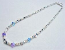 "#5087- 16"" NECKLACE MADE WITH SWAROVSKI CRYSTALS 925 SILVER BEADS HOOK CLOSURE"