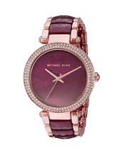 New Michael Kors Parker Rose Gold Plum Acetate Women's Crystal Watch MK6412