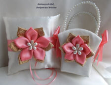 Wedding Ring Bearer Pillow and Flower Girl Basket Ivory set Handmade Coral Gold