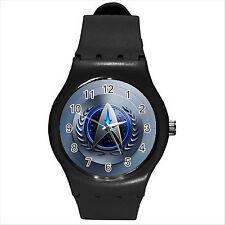 NEW HOT STAR TREK BADGE Black Round Sport Wrist Watch Medium D03