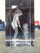 """NEW 3-D LASER ETCHED 3"""" x 2"""" CRYSTAL GLASS CUBE FEMALE GOLFER"""