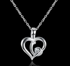 """Necklace 18"""" Chain Gift Box K34 Silver plated Cross Heart Cubic Zirconia Pendant"""