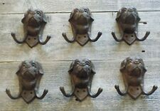 6 DOG HEAD COAT HOOKS HAT LEASH ST. BERNARD CLOSET ENTRY WAY GARAGE MUD ROOM
