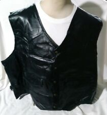 New Mens Vest 5XL 100% Leather King Size Black Motorcycle Riding Polyester Lined