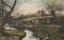 e england staffordshire old antique postcard english brook cotage penn common
