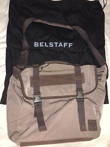 Belstaff Shoulder Bag Panama Messenger Made In Italy Leather Nylon Cotton