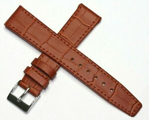EASY FIT CLIP ON OPEN ENDED GENUINE LEATHER WATCH STRAP TAN 12MM to 20MM