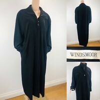 Ladies WINDSMOOR Black Coat Long Full Length Jacket Pockets/Zip &Buttons UK12-14