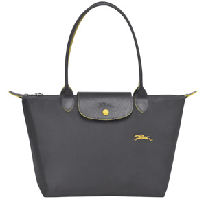 France Md Longchamp Le Pliage Club Horse Embroidery Small Tote Gun Metal