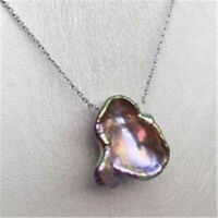15-18mm Purple Baroque Pearl Pendant 18inch Flawless Necklace holiday AAA