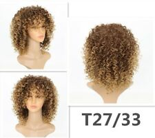 Blonde Kinky Curly Wig Afro Soft Synthetic Wig Fashion #LA3