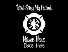 In Memory of Firefighter Maltese Cross Car Vinyl Decal Window Sticker