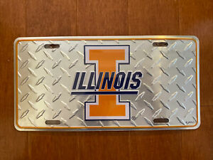 """New Metal License Plates Illinois Illini Game Day Outfitters 12"""" x 6"""""""