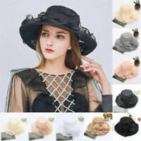 2x Women Lady Church Wide Brim Tea Party Wedding Hat Fancy Derby Fascinator Cap