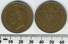 New Zealand 1947 - 1 Penny Bronze Coin - King George VI - Tui bird