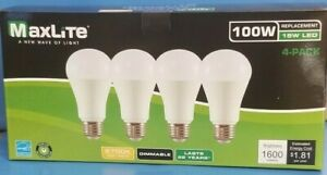 Maxlite 4 pack 15w Enclosed Rated LED A19 Bulb 1600 Lumens Dimmable lasts 22 yrs