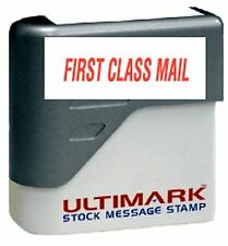 FIRST CLASS MAIL text on Ultimark Pre-inked Message Stamp with Red Ink