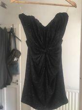 Lipsy London Size 8 Black Strapless Sparkle Sparkly Dress