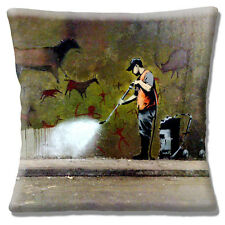 """Banksy Graffiti Artist 16x16"""" 40cm Cushion Cover Ancient Wall Graphic Cleaner"""