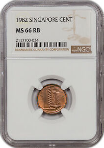 1982 SINGAPORE CENT MS 66 RB NONE GRADED HIGHER!