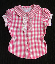 Baby clothes GIRL 12-18m pink/white check cotton blouse short sleeve SEE SHOP!