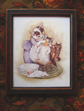 Very Sweet Mama Cat with Her Three Little Kittens Nursery Rhyme Print Framed