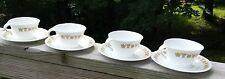 SET OF 4 Corelle  BUTTERFLY GOLD Cup & Saucers Vintage 1970's USA RETIRED L5