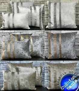 Crush Velvet Glitter stripe Cushions Covers or filled cushions silver gold