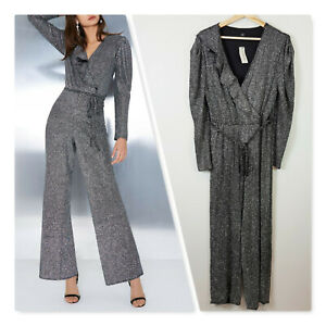 [ RIVER ISLAND ] Womens Silver Glitter Wrap Frill Belted Jumpsuit | UK / AU 16