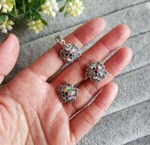 925 sterling silver rainbow gemstones flower earrings and pendant set. Marcasite
