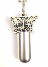 Silver Butterfly ANOINTING OIL HOLDER with Waterproof Vial and Velvet Pouch