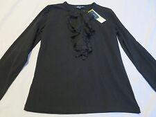 NEW w Tag Jones New York Black Long Sleeve Stretch Top Shirt Womens  M  $69.