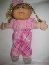 CPK doll clothes/14 inch/pink plaid pants/pink flannel top/hair bow/handmade