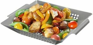 Barbeque BBQ Fish Basket Vegetable Bowl Grill  Stainless Steel Pan Grilling Wok