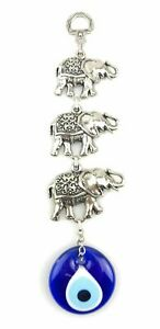 Handmade Three Elephants Wall Hanging - Evil Eye - Nazar Alloy