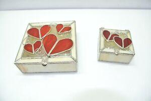 Set of 2 Decorative Hearts Glass Jewelry Vanity Boxes