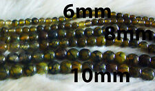 DIY Gold Yellow Agate 10mm Gemstone Round Gemstones Beads Jewelry Craft Batu
