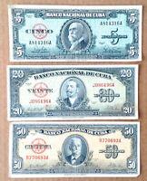 CAREBEAN - Lot 3 Banknote 50, Pesos, 20 Pesos, 5 Pesos1958 1960