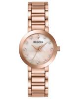 Bulova Women's Quartz Diamond Accents Rose Gold Tone 30mm Watch 97P132