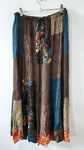 Vintage Boho Patchwork Brown Midi Skirt Size 12/14 Gypsy Prairie Peasant Work
