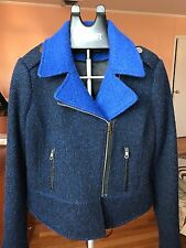 French Connection Asymmetric Military Wool Coat Boucle Zip Up Moto Jacket