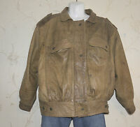 Brown Leather WINLIT Zip Popper Slouch Waist Length Bomber Biker Jacket Size L