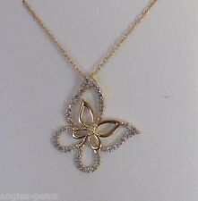 """NEW Diamond Butterfly Pendant Necklace- Yellow 10k Gold- 18"""" Chain"""
