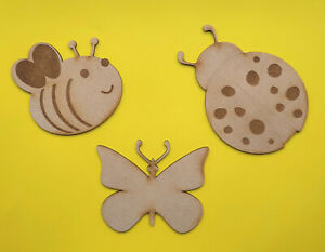 Wooden Insect Craft Shapes Decoration Bee Butterfly Ladybird MDF Wall Hanging