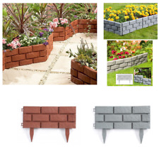 Plastic Brick Effect Lawn Garden Grass Edging Skirting Border Picket In 2 Colour