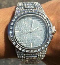 HIP HOP ICED 14k WHITE GOLD PT LAB DIAMOND WATCH BLING