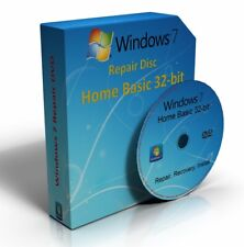 Windows 7 Home Basic 32-Bit Re-Install Restore Repair Boot Disc Recovery DVD