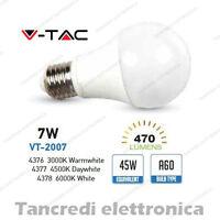 Lampadina led V-TAC 7W = 45W E27 VT-2007 A60 SMD globo bulbo sfera lampadine