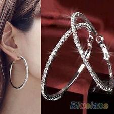 Womens Bling Wedding Party Crystal Rhinestone Ear Hoop Dangle Earrings