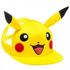 Pikachu Big Face Snap Back Ball Cap With Ears ~Pokemon~ Ships In Box!